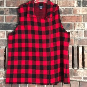 Chaps Zip Front Red and Black Checked Vest - 3X
